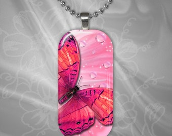 Butterfly Rectangular Glass Tile Pendant with chain(buR2.3)