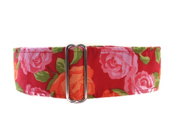 Floral Martingale Collar, 1.5 Inch Martingale Collars, Floral Dog Collar, Rose Martingale, Greyhound Martingale, Greyhound Collar