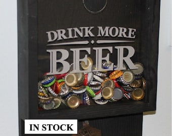 Drink more BEER/Bottle Cap Holder/Bottle Opener/Beer Decor/Bar Decor/Christmas Gift/Male Gift/Engraved/Fast Shipping
