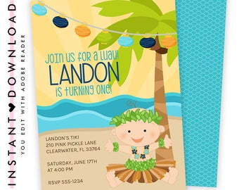 Luau Invitation, 1st Birthday Invitation, Luau Baby Birthday,Luau 1st Birthday,Hawaiian Invitations,Luau Birthday Invitation,Luau Party |210