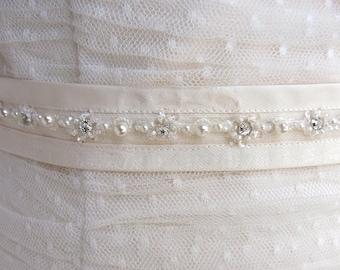 bridal sash crystal and pearls