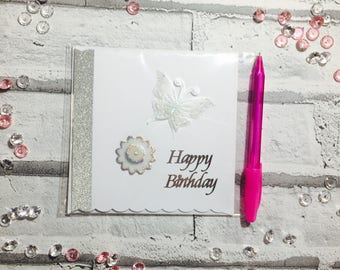 Happy Birthday Card, Butterfly Themed Cards, Flower Themed Cards, Cards for Her