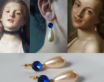 18th Century Blue and Pearl Earrings, Paste Glass Earrings, Rococo Jewelry, Eighteenth Century, Historical Jewelry, Blue Pearl Earrings