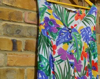 Vintage Tropical/Floral Sleeveless Dress