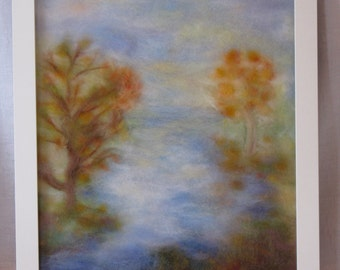 Autumn. Morning. Water. - wool fiber art, wall hanging, wool picture