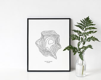 Mount Baker | Digital Download | Washington | 8.5 x 11 | 11 x 14 | 16 x 20 | Topographical Map Print | Pacific Northwest | PNW | Wall Art