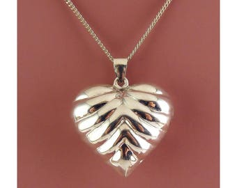 """Sterling Silver Large Puffy Ribbed Heart Pendant, 25"""" Sterling Necklace Chain"""