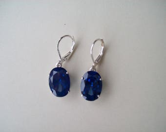 PERFECT SIZE - Lab Blue Sapphire Earrings in 925 Sterling Silver