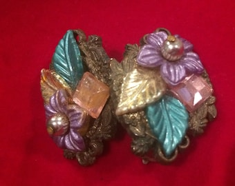 1950s clip on multicoloured floral earrings