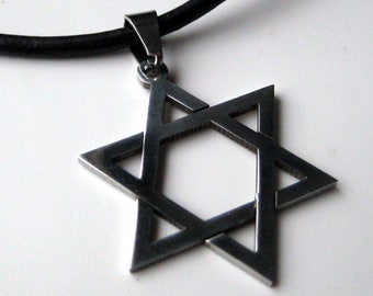 Necklace man leather and star of david N3361 stainless steel