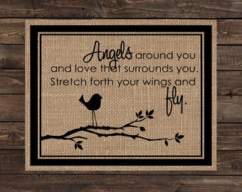 Burlap Print / Nursery Decor / Baby or Child Bedroom Wall Hanging / Baby Shower Gift - Spread Your Wings and Fly (#1704B)