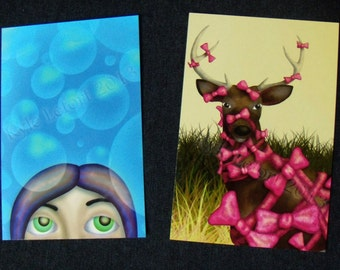 Bow Season and Bubbles - Art Print Mailable Postcards - Digital Painting