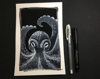 Why do Octopi always look so angry? (Original Octopus painting!)