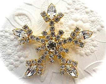 Vintage Gold Rhinestone Snowflake Brooch Winter Brooches Vintage Pins VA-238