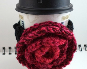 SALE - Black Crocheted Coffee Cozy with Pink Rose Circular Pocket (SWG-A07)