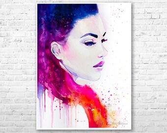 Color illusions watercolor painting print by Slaveika Aladjova, Fashion Illustration, Illustration, watercolour, wall art, home decor