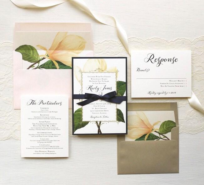 Navy Blue And Ivory Wedding Invitations: Ivory And Navy Magnolia Wedding Invitations Gold Blush Navy
