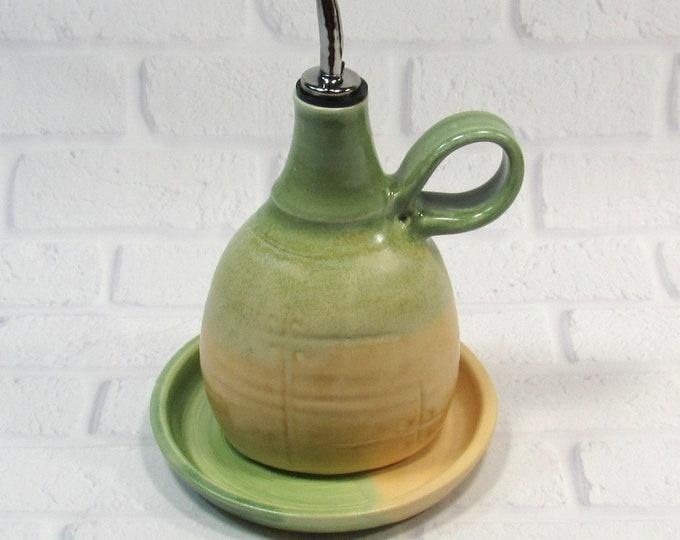 Featured listing image: olive oil dispenser - Olive oil bottle - Olive oil cruet - ceramic oil bottle - vinegar dispenser - olive oil pourer