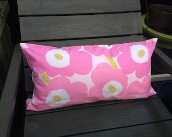 "Marimekko pink Pieni Unikko pillow cushion cover, 12x24"", 30x60cm, handmade, Finland"