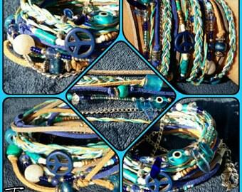 Beach Wrap Bracelet Summer Bracelet Multi Wrap Bracelet Blue Wrap Bracelet Funky Summer Wrap Bracelet Beach Wrap Bracelet Boho Wrap Bracelet