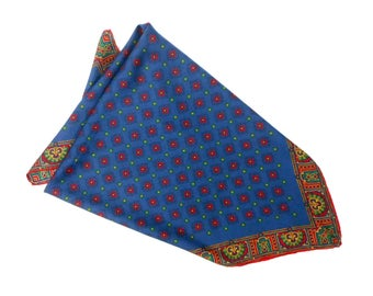 Vintage  Pocket Square, Paisley Silk Pocket Square, Small Silk Scarf