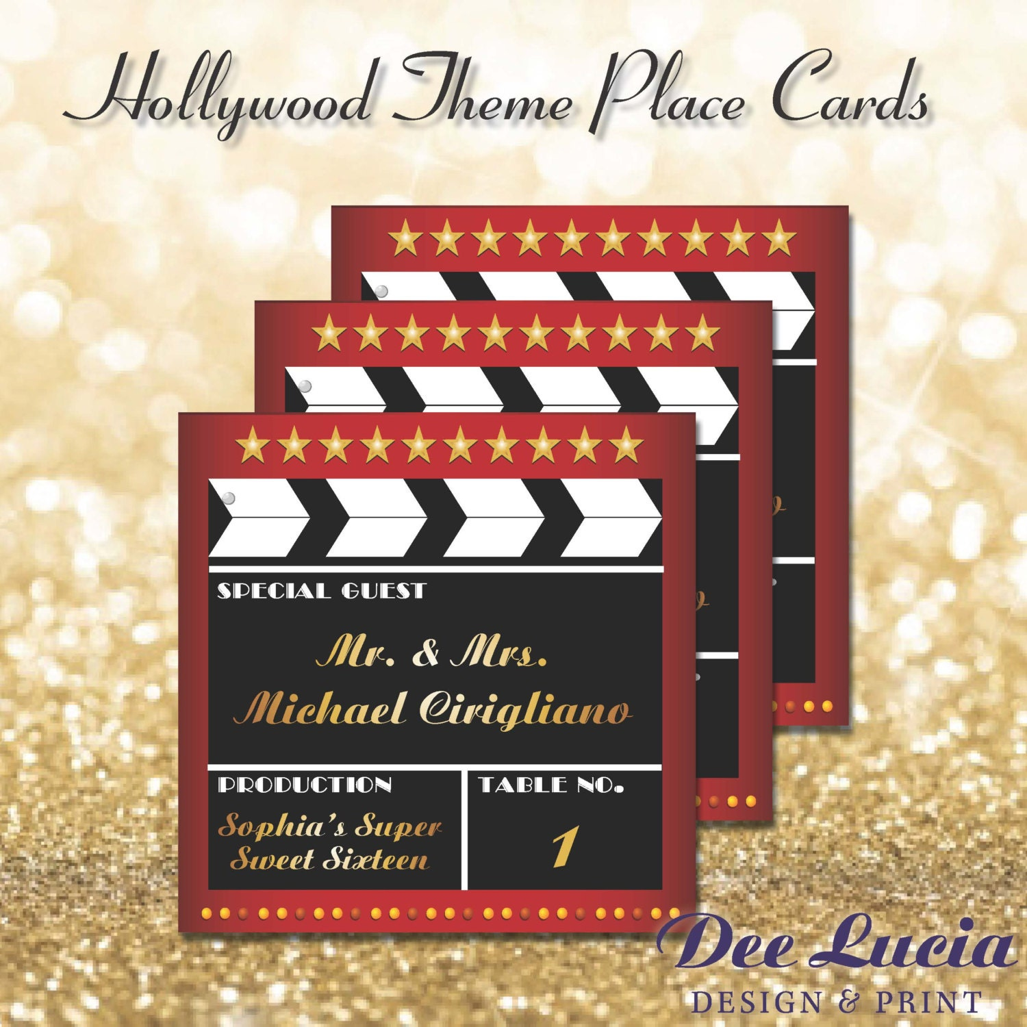 Hollywood theme place cards printed with guest name and table