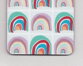 Rainbow print coasters // Square Drink Coasters // Pop Art Homeware