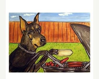 25% off Doberman Pinscher at the Cook Out Dog Art Print