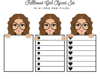 Fullboxes Fashion Girl 16 Clipart Files Set, Brunette, Brown Hair, Functional Full Boxes Heart Checklists Planner Sticker Clipart Graphics