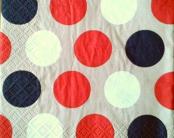 Beige polka dot napkin multicolor 25 x 25 cm