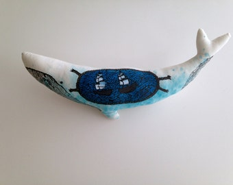 White Whale Illustrated art Doll. Hand painted and One of a Kind Softie for Decoration or Gifts
