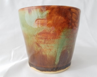 Green and Bronze Ceramic Tumbler, Drinking Cup