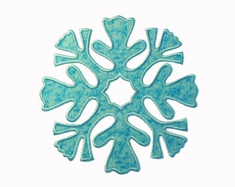 """Snowflake Block Applique Machine Embroidery Design Pattern in 3 sizes 6"""" 7"""" and 8"""""""""""
