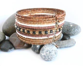 Beaded Cuff Bracelet - Vintage Jewellery - Assorted Beads - Brown Bracelet