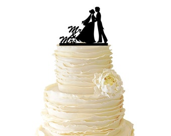 Mr and Mrs Dancing Couple - Acrylic or Baltic Birch Wedding/Special Event Cake Topper - 020