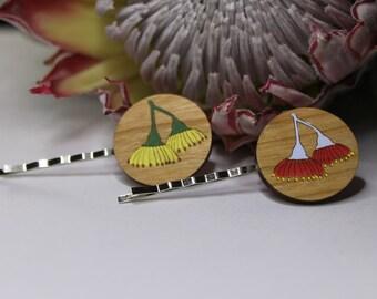 Decorative Bobby Pins-Australian Bobby Pins-Hair Accessory-Hair Pin-Australian Wildflowers-Gum Blossoms-Wood Laser cut