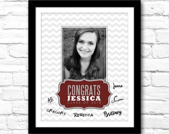 Photo Graduation Guestbook/Welcome Sign – Custom 8x10 Printable File – Photo art print customized w/ your grad's photo, name & school color!