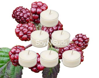 Soy Tea Lights, Soy Candles, MULBERRY, Dye Free, T Lites, Candles, 6 Pack, White Candles, Scented