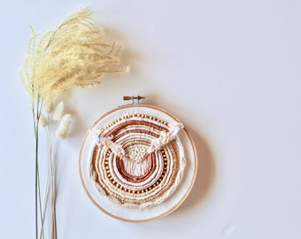 Hand Embroidered Boho Natural Wall Art / Embroidery Hoop Art / Modern Wall Hanging / Home Decor / Beaded Tapestry /