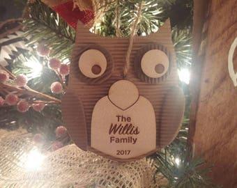Personalized Owl Ornament. Made with paper and wood.