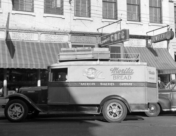 1943 Merita Bread Truck Montgomery AL Vintage Photograph