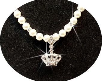 Crown Necklace, Tiara, Princess Necklace, Wedding Jewelry,  Pendant Necklace,Bridal Jewelry, Wedding Accessories, Glitz, Pendant Necklace