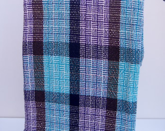 Woven Tea Towels, Handwoven Kitchen Towels, Cotton Hand Towels, Dish Towels, Chefs Towel, Hostess Gift, Teal and Purple Woven Guest Towel