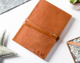 Personalized Monogram Leather Journal - available in two sizes