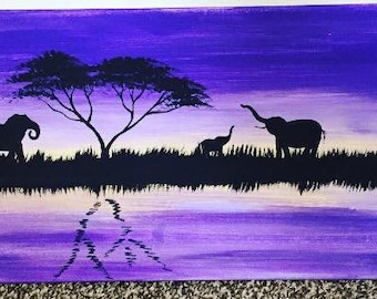 Elephant painting / purple / family / Africa/ one of a kind