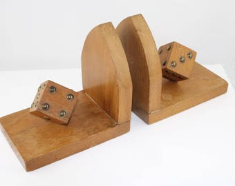 Vintage wooden dice bookends