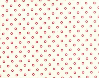 7/8 Yard Hello Darling by Bonnie and Camille for Moda Lollies Circles Red/Cream