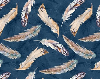 Tossed Feather Fabric, Springtime - Nature Study by Nancy Mink for Wilmington Prints Fabric - 33826 424 - Priced by the half yard