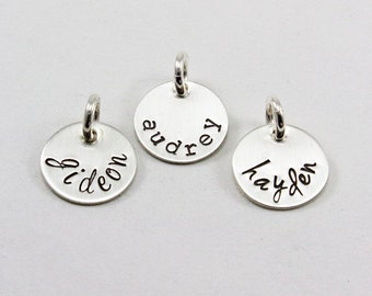 Small sterling silver tag charm, add on charm, a la carte jewelry