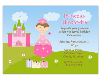 Princess Castle Birthday Party Invitation Choose Princess (You Print)